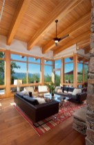 The great room was specifically designed to feel comfortable for even small-sized groups. A large upper level deck extends the living area during warm weather.