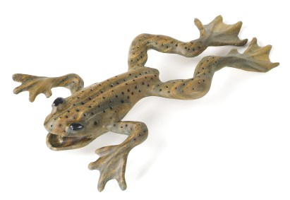 """""""Leaping Frog"""" is carved out of a single piece of lignum vitae from Central America."""