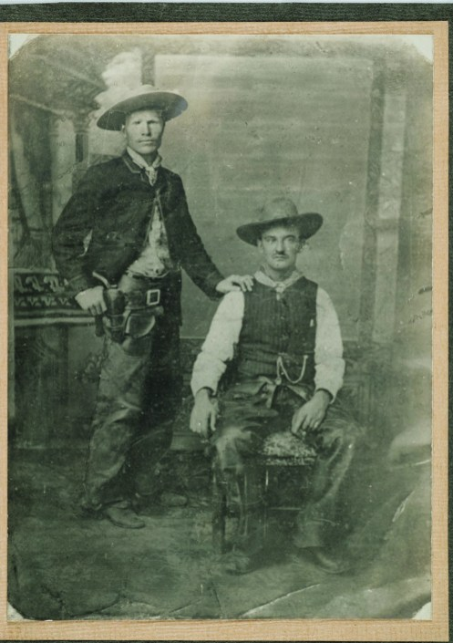 The Custer pose: Russell and Ensign Sweet posing like [General George Armstrong] Custer and [his wife] Libby. Original tintype made in White Sulphur Springs, circa 1888. • CMRRC (TU2009.39.5674a)