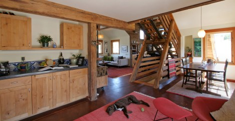 Incorporating reclaimed heart pine timber in this structural staircase and trim, as well as low-VOC paint from Refuge are just a couple of the materials that Zimtor Architecture and builder Gray Davidson of Gray Builders, both of Bozeman, value in their p