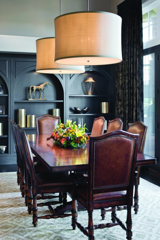 Classic pieces of high-quality furniture, like this dining room table and chairs, can be accented to suit a desired style.