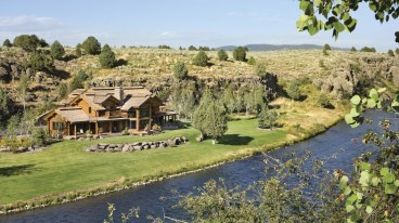 """Architect John Kjos worked with a famed fly-fishing guide (and friend of the owners) to place the house on the 7-acre site. """"The goal was to see the river from nearly every room,"""" Kjos says. Photo By: Roger Wade"""