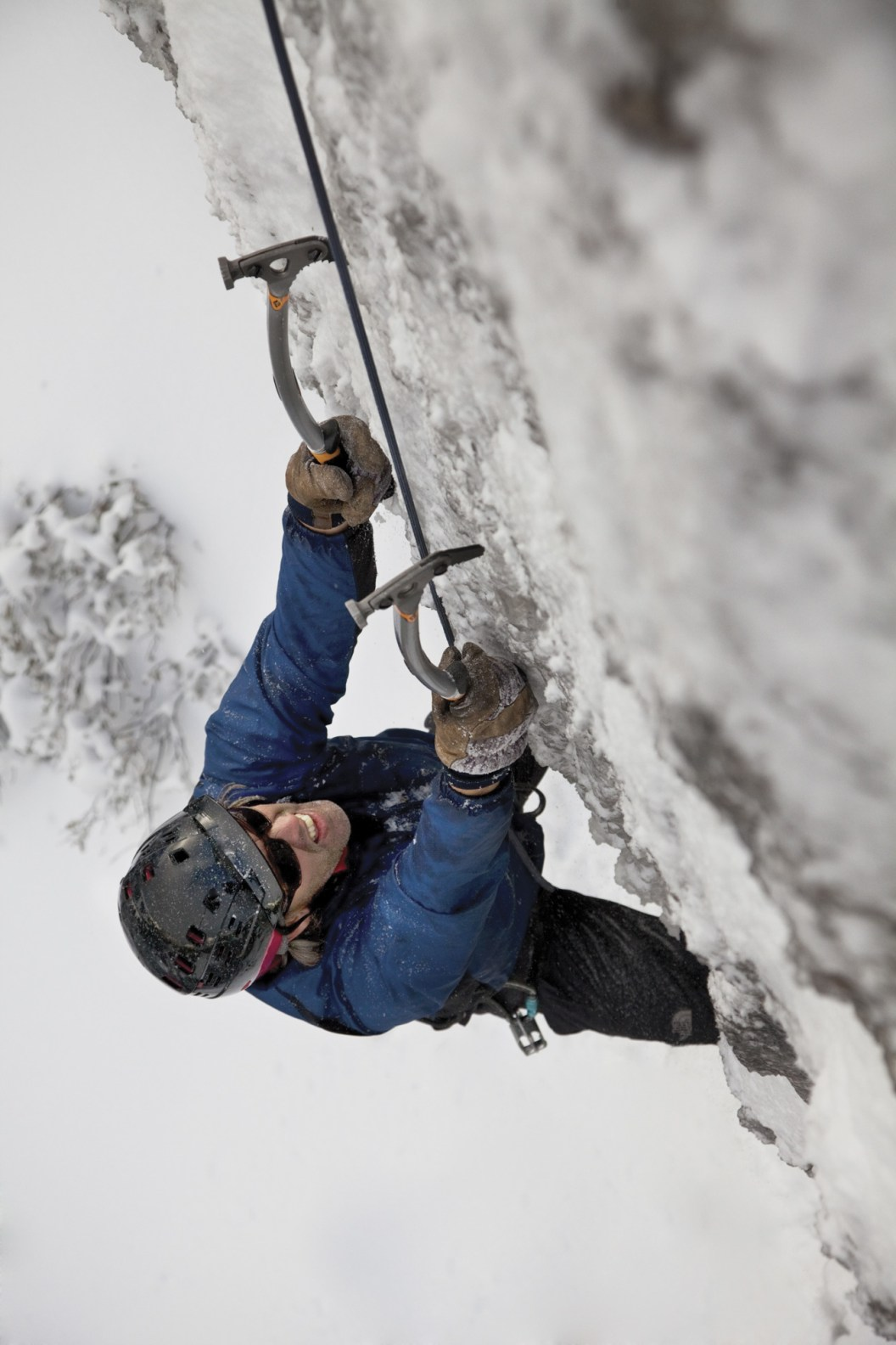 Exum Mountain Guide Bill Anderson climbing steep ice on the KB Wall at Teton Ice Park.