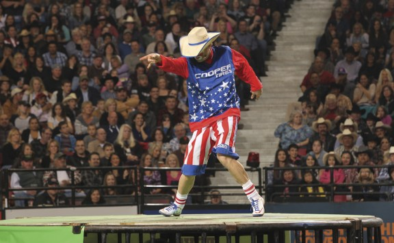 Rasmussen performs his crowd-stealing Michael Jackson routine on the shark cage. Photo by Andy Watson/Bullstockmedia.com