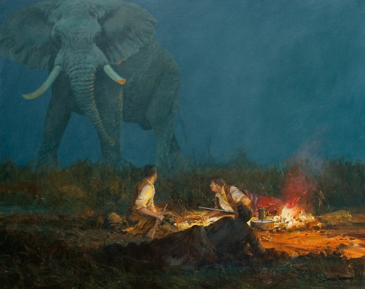 """""""Night Terror,"""" an original oil painting by wildlife artist John Seerey-Lester was donated by Call is Africa to be auctioned at the SCI Show in Reno. It is valued at $29,900; price of admittance ticket is entry for the live auction. Must be present to win."""