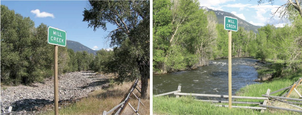 Before and after images showing the increased stream flow results achieved by the Yellowstone River Streamflow Restoration project in Montana.
