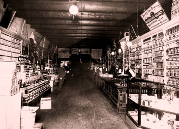 Interior of the Missoula Mercantile Company, circa 1900. As the super Walmart of its day, the Merc stocked clothing, hats, cloth, canned goods, fresh fruit and vegetables, furniture, carpets, saddles, drugs, farm implements, hardware, guns, saddles and shoes and more.