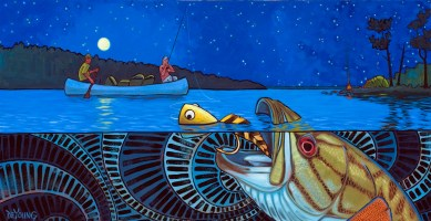 """Boundry Waters Bass"" illustration by Derek DeYoung"
