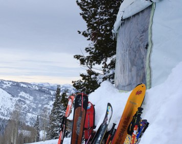 Backcountry skis rest beside the Baldy Knoll Yurt near Driggs, Idaho.