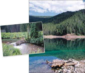 Left: The upper Smiths Fork river offers attractive public water, fringed by willows and broken by beaver dams. • Right: Nestled at an elevation of 7,800 feet, Lake Alice was formed by an enormous landslide thousands of years ago, the lake is accessible via a 1-½ mile hike from the Hobble Creek campground.