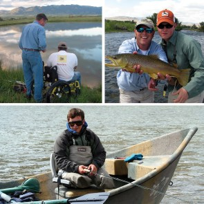 Upper left: Guide Mark Fogelsong, Ivan Perez USMC, working together during the first fly-fishing lesson, called Flyfishing 101. Photo by Eric Hastings. Upper right: Tim Jeffers USMC casting his rod from the bow of a driftboat along the Yellowstone River.