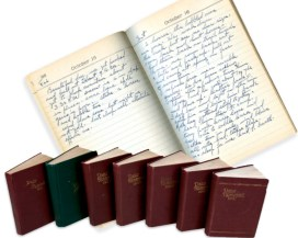 Detail page view of October 15 and 16, 1926 from the personal diary of Gollings. Also shown are the seven years of Gollings daily planners. Photo Courtesy of Meadowlark Gallery