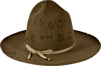 Mary Gordon Collins Kruidenier's hat with brands from ranches around the area. The OW was the Kendrick ranch at the head of Hanging Woman Creek southeast of Birney, Mont. The COL brand was owned by Natalie Brown Woodward.