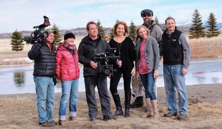 "The camera crew and cast on the ""set"" of a recent episode filmed near Livingston. Left to right: Dan Dvorak, Tracy Wohlgenant, Dean Eastman, Dana Ventling Lich (cast), Annie Burns (cast), James Tobin, Greg Burns (cast)"