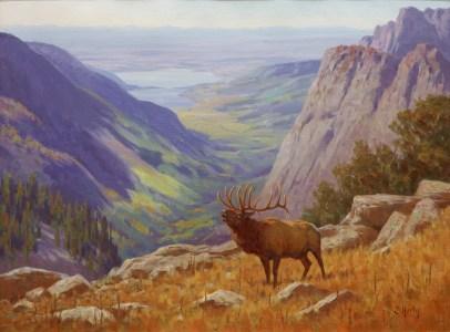 """Autumn Elk"" | Oil on Linen | 30"" x 40"" | Emigrant Peak, Montana"