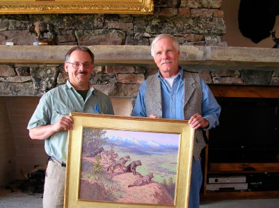 """One of the first paintings Harty made is not in the show but is instead part of the private collection of Ted Turner. The work illustrates the dividends of land protection, reflecting how topography and open space can be """"re-wilded."""" Photo by Todd Wilkinson"""