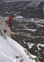 Tom Jungst launches off a cliff along Bridger's now famous Ridge, during the 1980's when the sport of extreme skiing was in its infancy. (Photo by Beth Hickok)