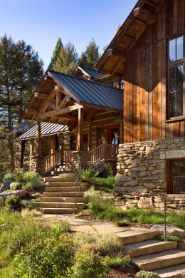 With nary a tree cut to accommodate the home's footprint, the two-story building captures the precious southern exposure of the day on one side and maximizes the element of privacy on the other. This equates to intimate outdoor spaces that connect to the alpine meadow and the surrounding woodlands.