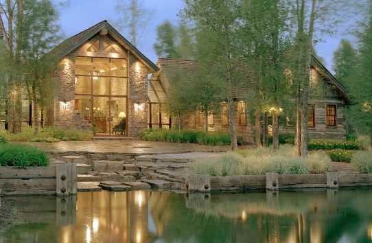 Creating simple form from the unexpected is a signature of JLF & Associates. In this Jackson, Wyoming home drystack stone, steel windows and doors were combined elegantly. Landscape architect, Jim Verdone, fluidly connected the outside spaces, cascading w