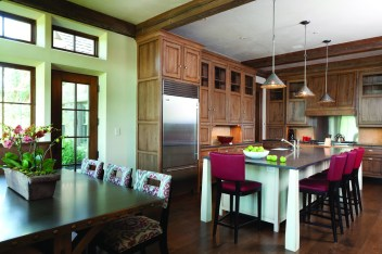 """All of the cabinetry in the home was manufactured in Ohio and shipped out to be pieced together on-site. It took three moving trucks to get all of the cabinetry out. """"A supervisor from the manufacturer came with each load who helped us figure everything out,"""" says project manager Jeremy Mayor."""