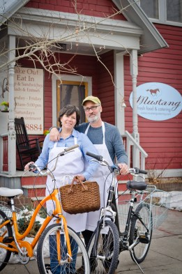 Proprietors Carole and Dan Sullivan with a basket ready for delivery, everything in the Mustang kitchen is made from scratch.