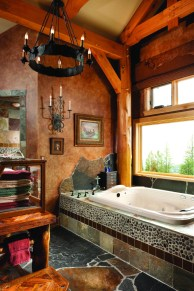 The master bath offers a Millennium Aquatic 2-person jetted tub and radiant heated floors.