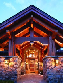 Chief Cliff Masonry, Centennial Timberframe and Iron Mountain Slate combine for an elegant heated entryway.