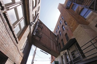 Behind Sears and Hennesy's, on Granite Street, an impossible second-story brick overpass remains.