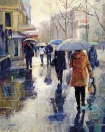 """Rainy Street Scene"" | Francis Switzer | Oil on Canvas |20"" x 16"""