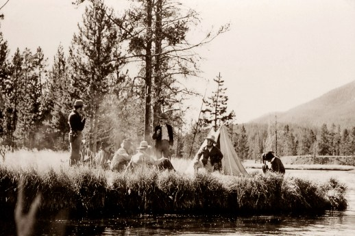 """A re-enactment of Washburn-Langford camp and """"the Yellowstone Campfire"""" where discussions about the future of the Yellowstone went from privatization to promoting it as the first national park. NPS photos"""