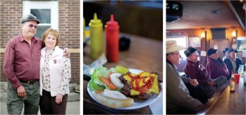 Left: Locals relaxing after work. • Center: Lunch specials change daily, but burgers, hot dogs, polish dogs or Tony Roma rib sandwiches are always on the menu. • Right: Roger and Mary Stinson sold the bar to Suzanne Johnston and Monte Gossard in August of 2008, but they are still regular fixtures.