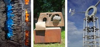 "Left: ""Breath"" (detail) by Brian Scott, Billings, Montana | Cast Aluminum, Glass, Steel |124"" x 7"" each | Photo by Brian Scott • Center: ""3 Stone Tree"" by Zak Zakovi, Bozeman, Montana | Stone and Steel | 60"" x 60"" x 36"" | Photo by Doug Loneman • Right: ""H20"" (base detail) by Patrick Zentz, Laurel, Montana | Aluminum, Concrete, Steel | 176"" x 183"" | Photo Patrick Zentz"