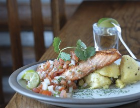 Tequila-Glazed Salmon with Pico de Gallo and Red Pepper Grits