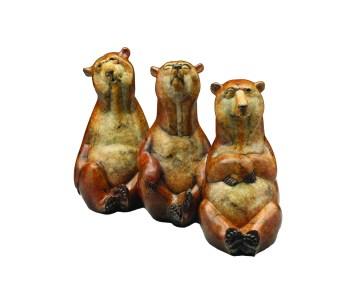 "American Bears, L to R: ""Park City,"" ""Austin"" and ""Denver"" | Bronze | 17"" x 4"" each"