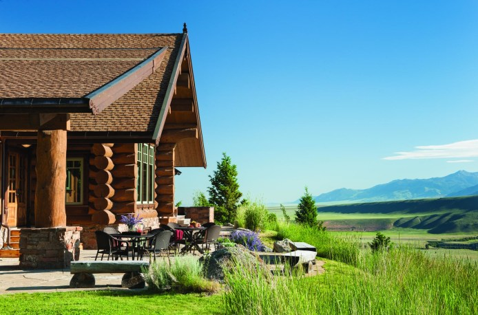 The home utilizes outdoor space with decks and patios, where the homeowners can entertain or find a quiet place to enjoy the vistas of the Madison Valley. The home observes Hilgard Peak, the tallest mountain in the Madison Range, and the elk, deer, wolves, moose and bear that move through the river valley corridor.
