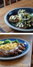 Top: The fare at Sweetwater Restaurant reflects the abundance of wild game, beef, fish and seasonable in the Jackson area. • Bottom: Located in historic Coe Cabin since 1976, Jackson's oldest eatery dishes up memorable crab cakes, savory pork loin with green chili mac and cheese.