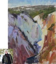 """Yellowstone Falls"" | Oil on Canvas | 16"" x 12"" | By Joyce Lee"