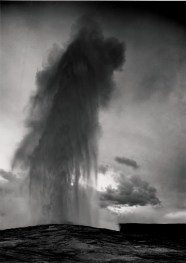 Taken at dusk or dawn from various angles during eruption. Old Faithful Geyser.