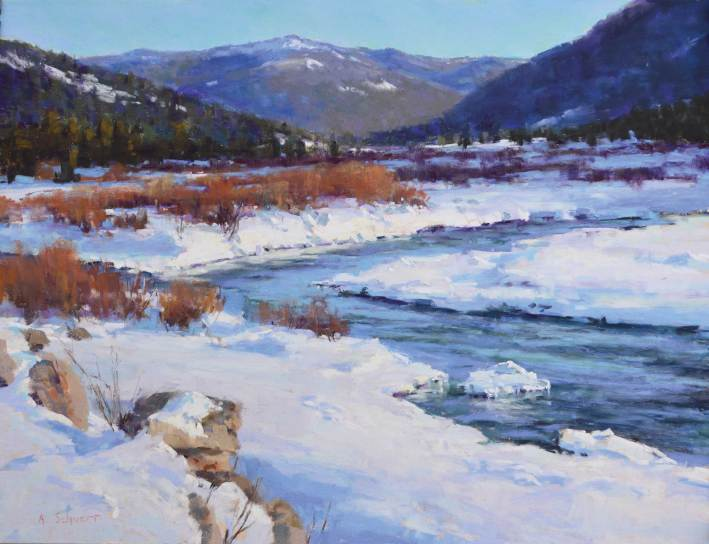 """The Gallatin River in January"" 