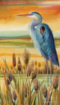 """Stillwater River Heron"" | Dye on Silk | 27"" x 16"""
