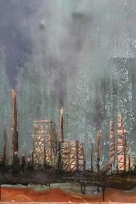 """Carbon Aurora""   Nolan Salix   Patina and Mixed Media on Copper"