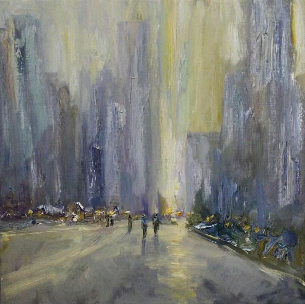 """City Romance"" | Oil on Canvas | 20"" x 20"""