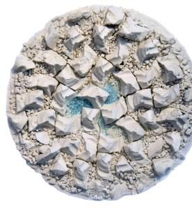 "Rachael Marne Jones   Slip-cast Porcelain & Found Insulator Fragment Glass   24"" x 24"" x 6"""