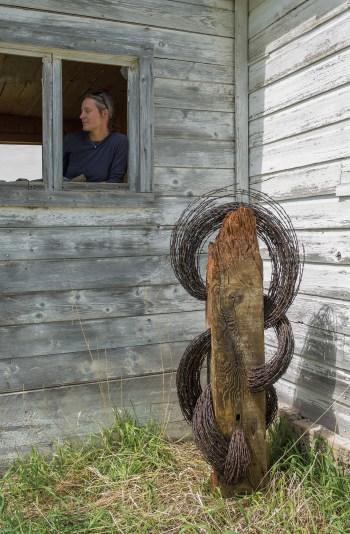 """Copper City""   Jennifer Pulchinski   Barbed Wire & Wood   5' tall"