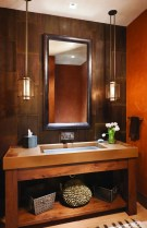 Elements Concrete created the countertops in the bathrooms, using concrete to defy typical convention.