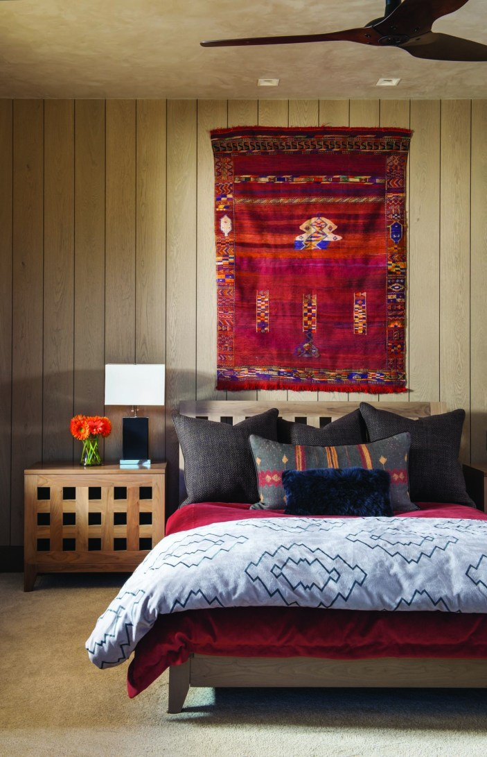 The master bedroom is a deconstructed and reconstructed log cabin.