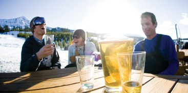 End of day beers complete the day at the Madison Lodge on the Moonlight side of Big Sky Resort.   Photo by Kene Sperry