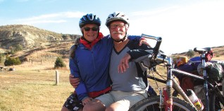 The author and his partner, Marypat Zitzer, take a break during their October ride.