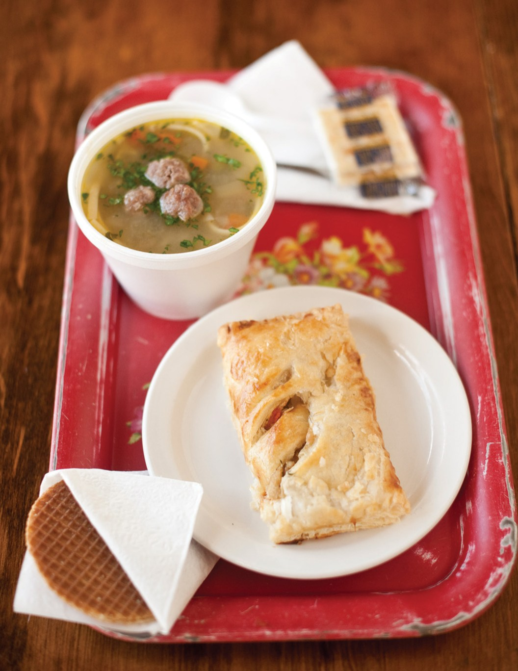 The $7.50 lunch special includes customer's choice of lunch pastry, a cup of soup, small drink and a caramel cookie waffle.