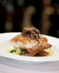 The Alaska Black Cod, served with lemongrass, shiitakes, spruce tips, summer squash and fingerlings.